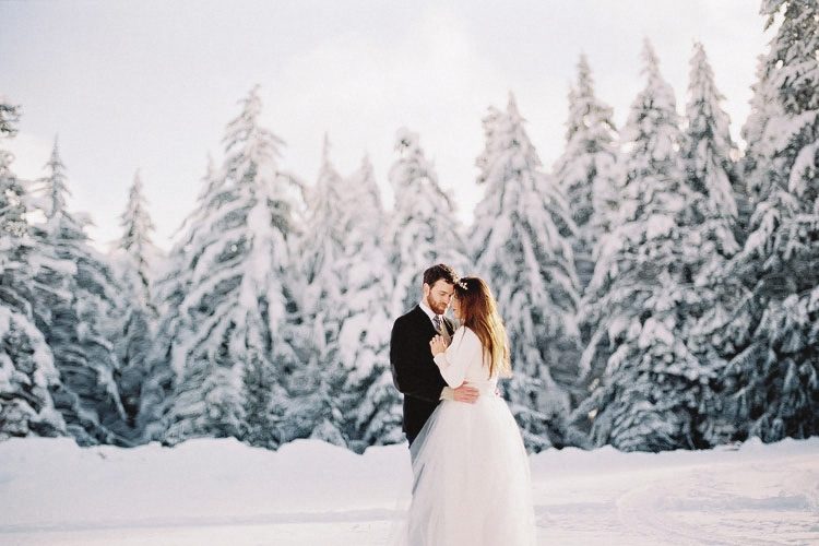 Mt. Hood Wedding | Bridal Portraits in the Snow